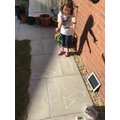 Chalk shapes in the garden