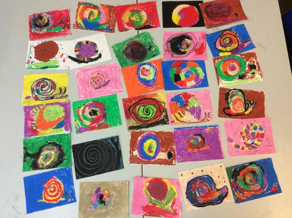We drew spirals and using pastels to make snails.