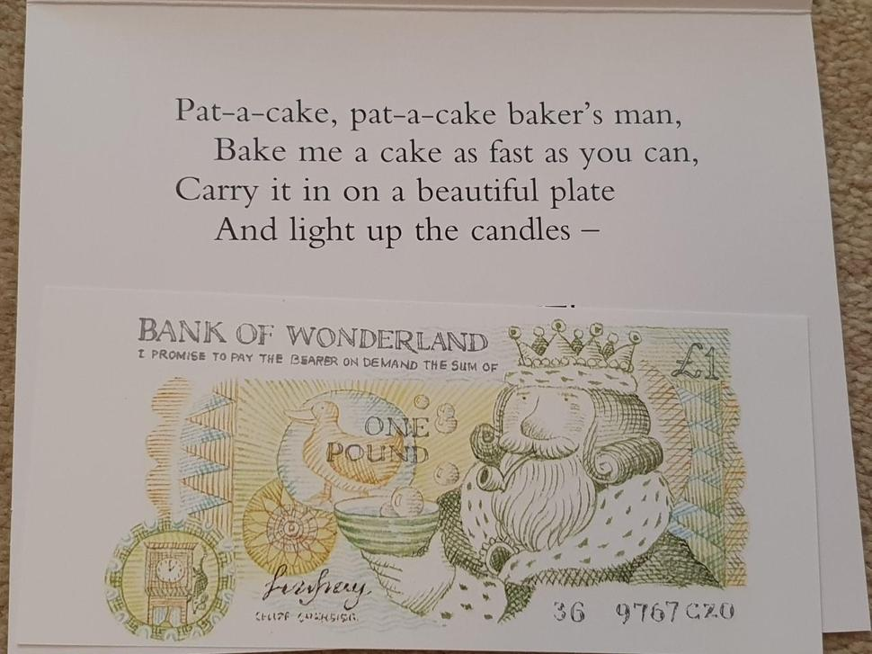 Birthday Card Inside and Bank Note to Goldilocks