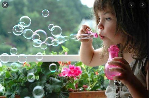 Blowing and watching bubbles