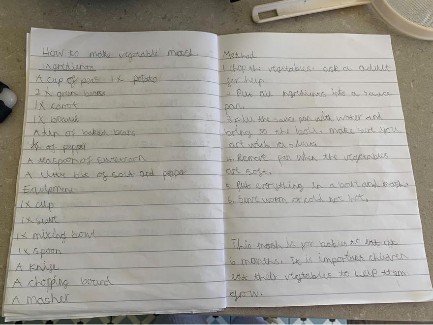 Recipe vegetable mash. Great handwriting.