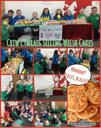 Our Criw Cymraeg selling Welsh cakes