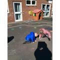 We made marks using chalk