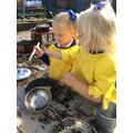 Making mud pies... yum!