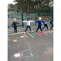 We played the bean game to warm up for PE