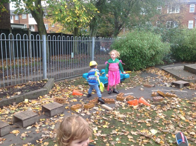 Using tools to collect, rake, scrape, brush