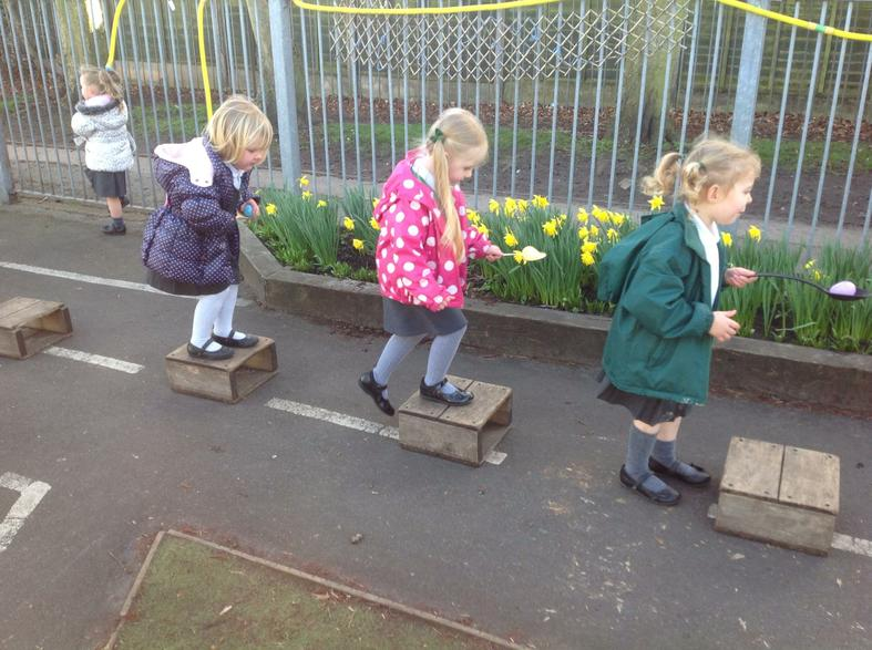 Egg and spoon race over obstacles