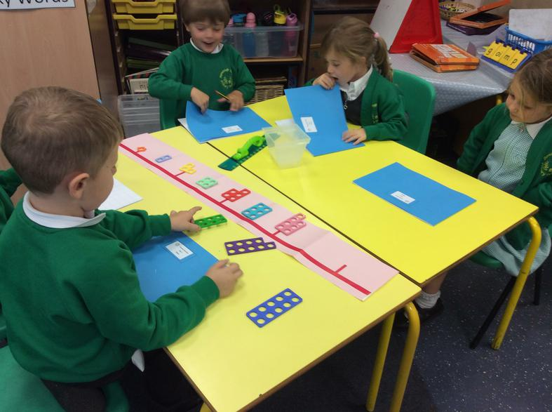 Making our own Numicon number lines