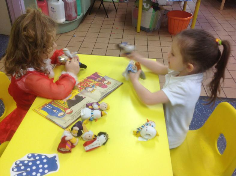 Using finger puppets to act out The Nativity