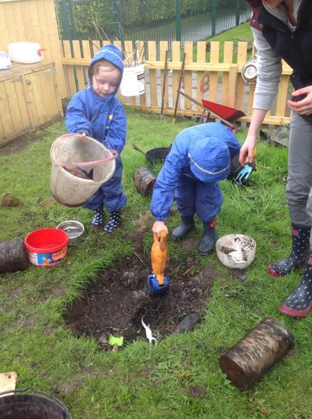 Daniel and Sky collected the mud