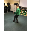 George performing a Fortnite dance
