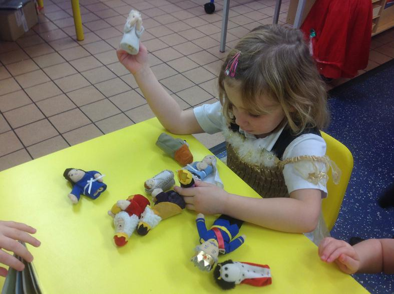 Using finger puppets to act out The Nativity Story