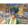 Hannah displaying her headdress
