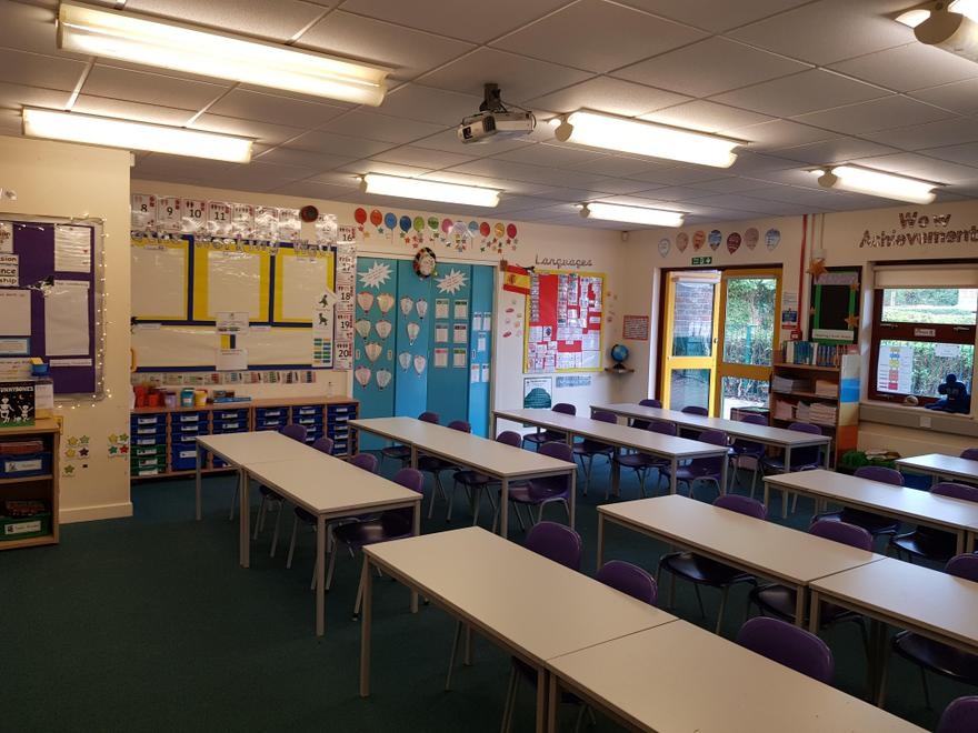 This is our classroom.  Can you see the fairy lights?