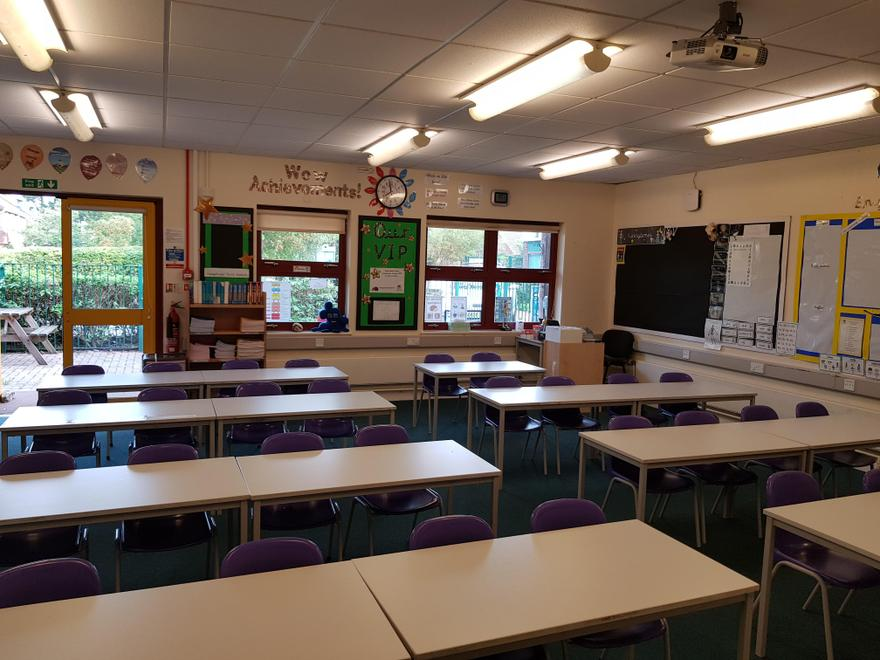 This is our classroom. Our tables look a bit different as they are are set out in rows.