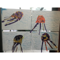 Jelly fish collages using non-recyclable plastics