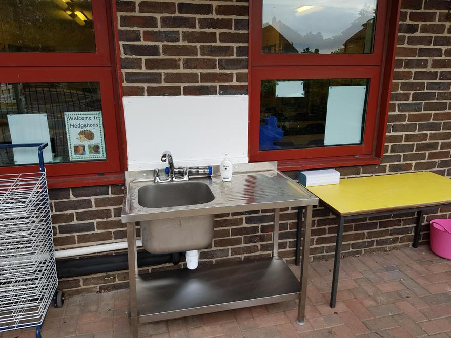 This is our new outside sink!  This is where we will wash our hands throughout the day.