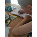 Harvey writing about his caterpillars