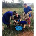 Washing children's hair at the deaf school.