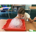 Making bubble towers!