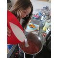 Charlotte making jam