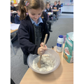 Mixing our recipe