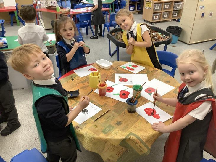 We had two minutes silence and painted poppies