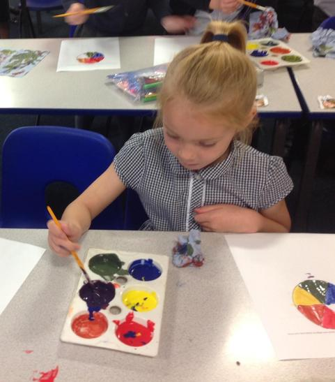Experimenting with colour mixing as part of our Ashley Jackson art topic.