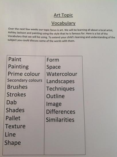 Here is some of our art vocabulary we will be using as part of our Ashley Jackson learning