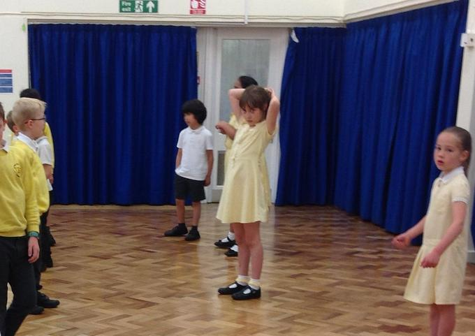 Practising country dancing