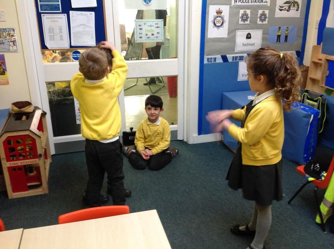 Role play of 'Traction Man'