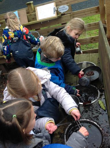 We made our own potions in the mud kitchen