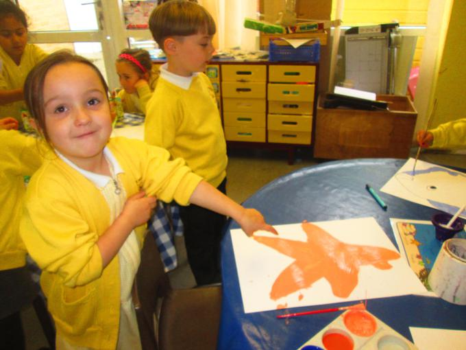 We painted various sea creatures