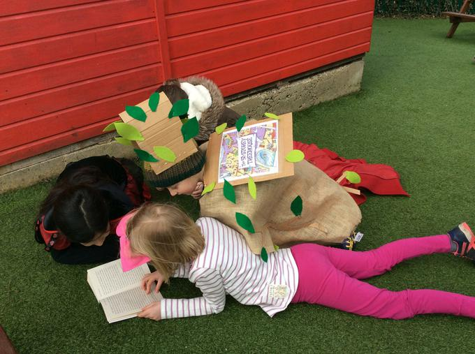 Reading in the playground for World Book Day