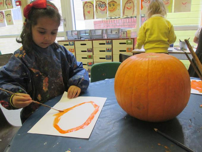 Observational drawings of our pumpkin