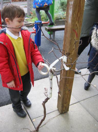 We made a large Stick Man outside