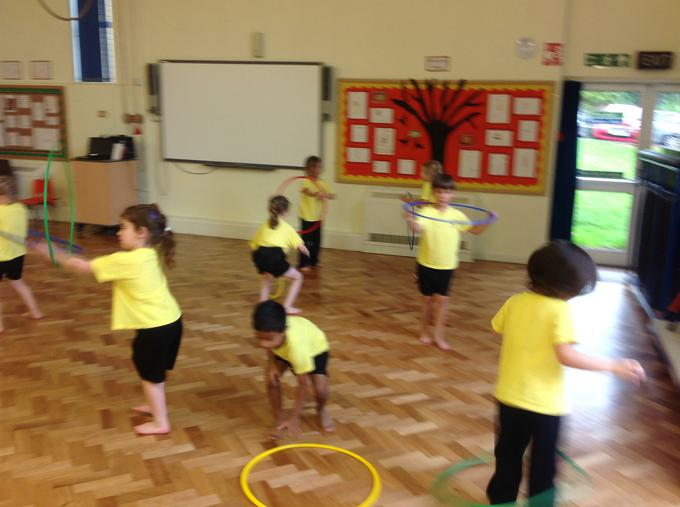 Practising hoop and throwing skills