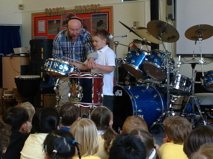 Practising our drumming skills!