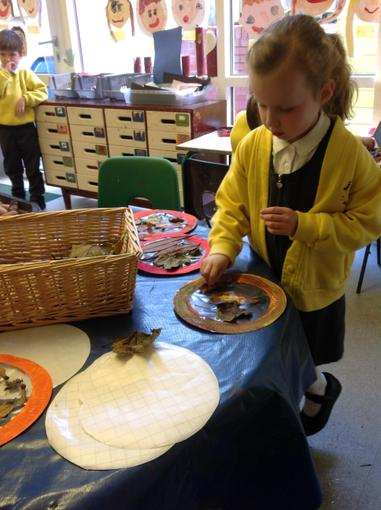 Making our Harvest assembly decorations