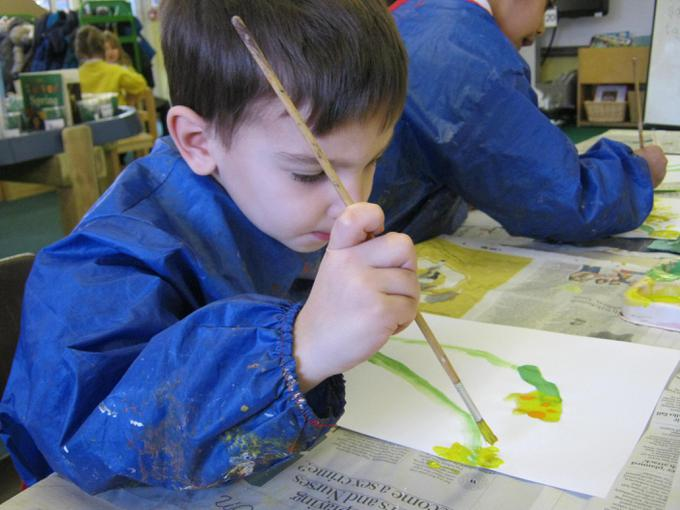 We carefully painted what we could see