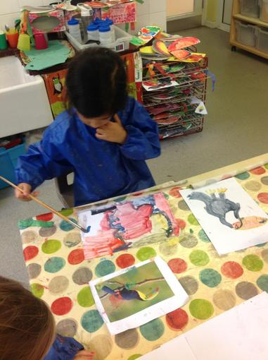 Painting pictures of toucans