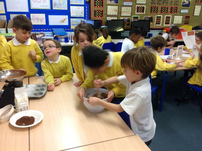 Making chocolate cakes!