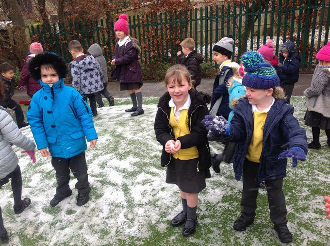 We explored the snow in our outdoor area