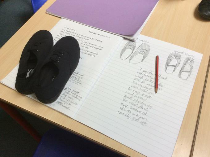 Comparing plimsolls and school shoes