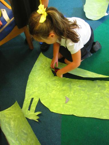Cutting out our crocodile