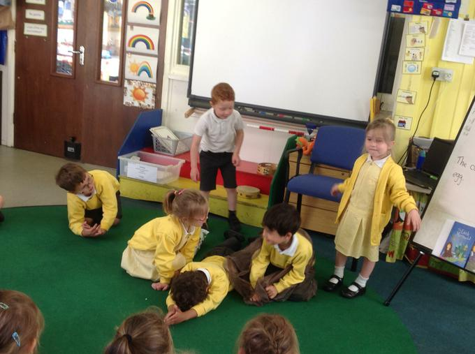Acting out 'The Very Hungry Caterpillar'