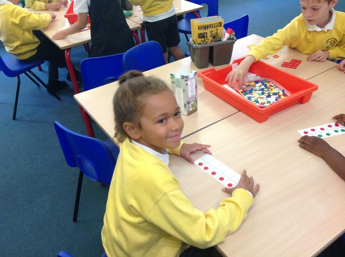 Some of our maths learning using a 10's frame