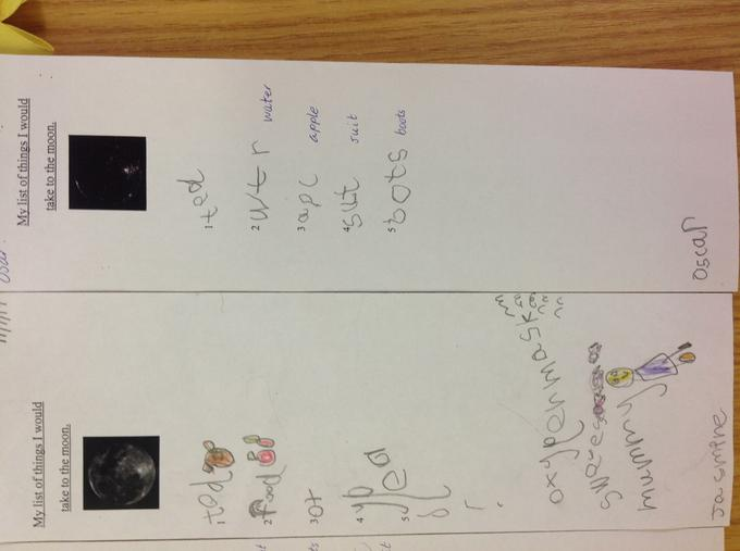 We used our phonics knowledge to write our lists