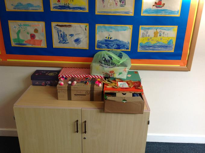Harvest boxes ready for the food bank