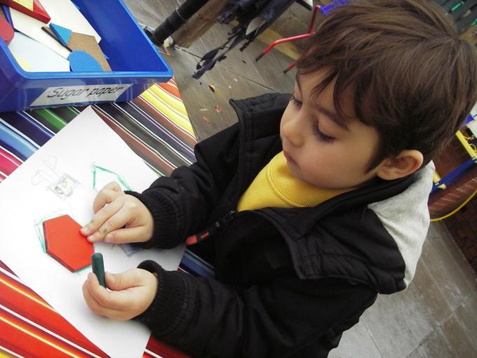 drawing around hexagons